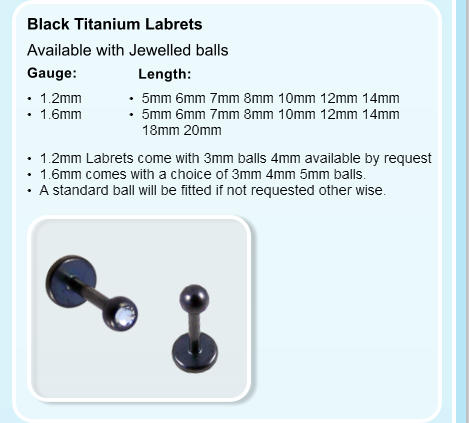 Black Titanium Labrets  Length: Gauge:   Available with Jewelled balls