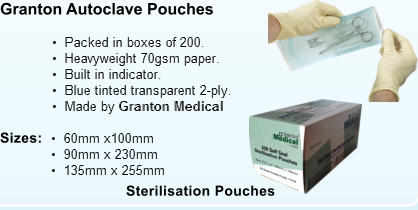 Sterilisation Pouches Granton Autoclave Pouches Sizes:
